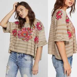 NWT Free People Catalunya Embroidered Top Size XS